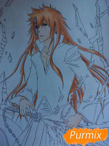 Рисуем Ичиго Куросаким в полный рост цветными карандашами - шаг 13