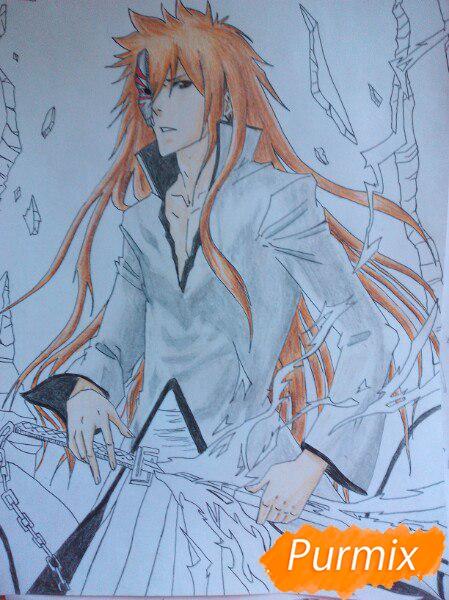 Рисуем Ичиго Куросаким в полный рост цветными карандашами - шаг 15
