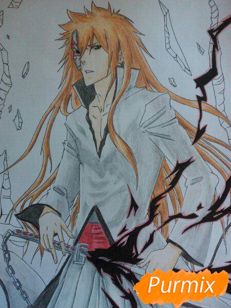 Рисуем Ичиго Куросаким в полный рост цветными карандашами - шаг 17