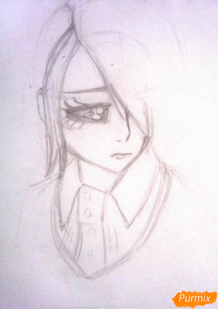 Рисуем Киришиму Тоуку из аниме Токийский Гуль - шаг 4