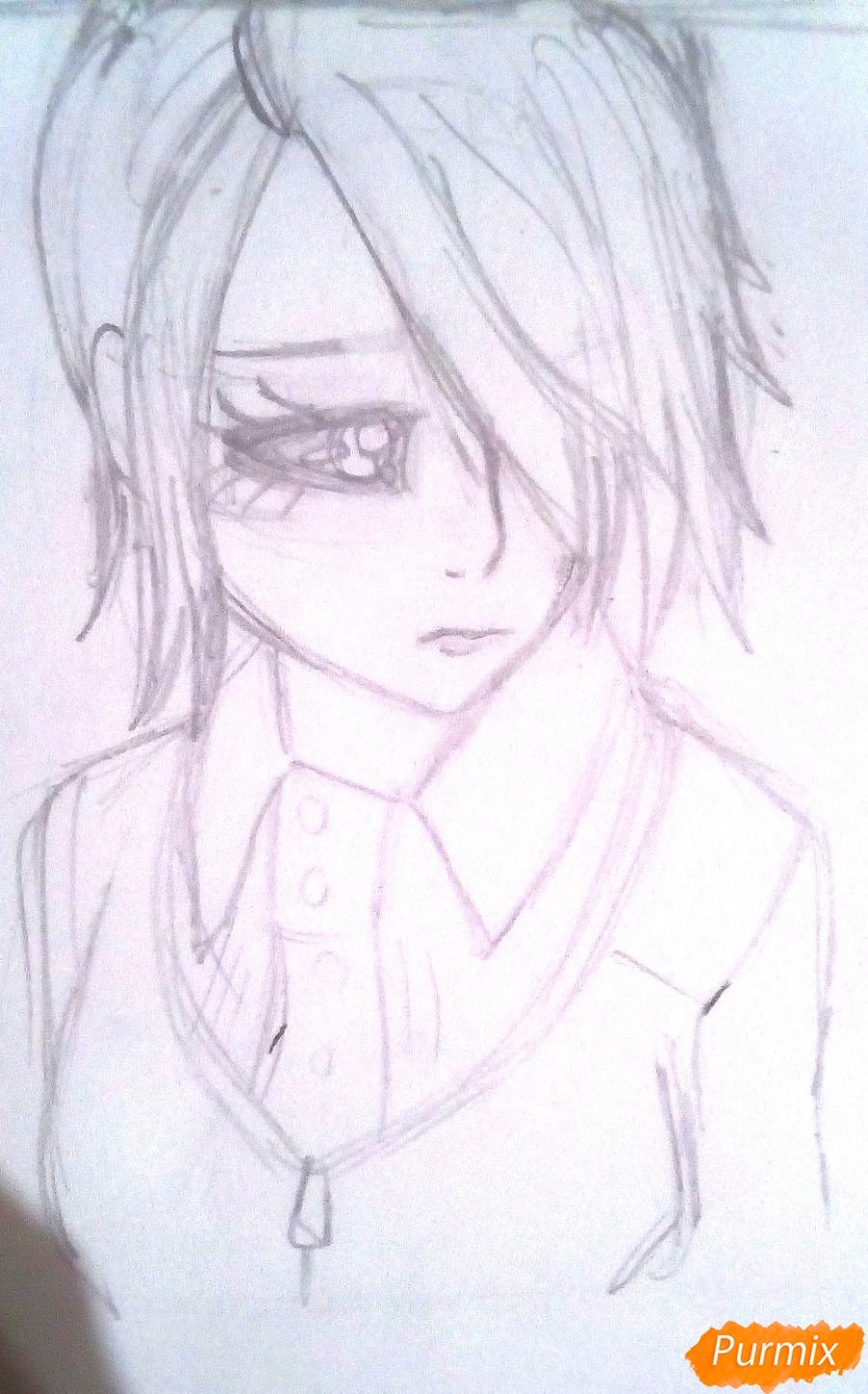 Рисуем Киришиму Тоуку из аниме Токийский Гуль - шаг 5