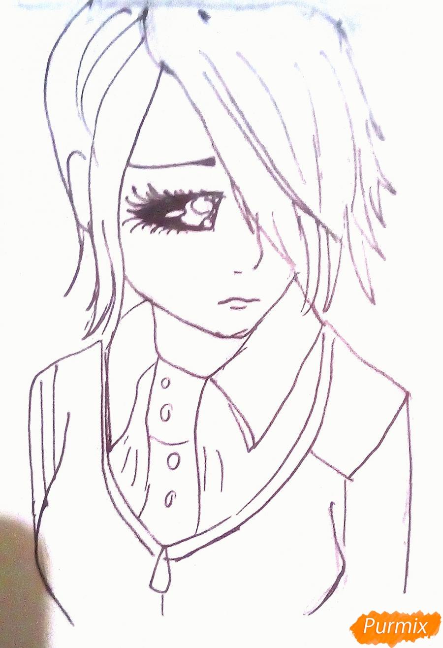Рисуем Киришиму Тоуку из аниме Токийский Гуль - шаг 6