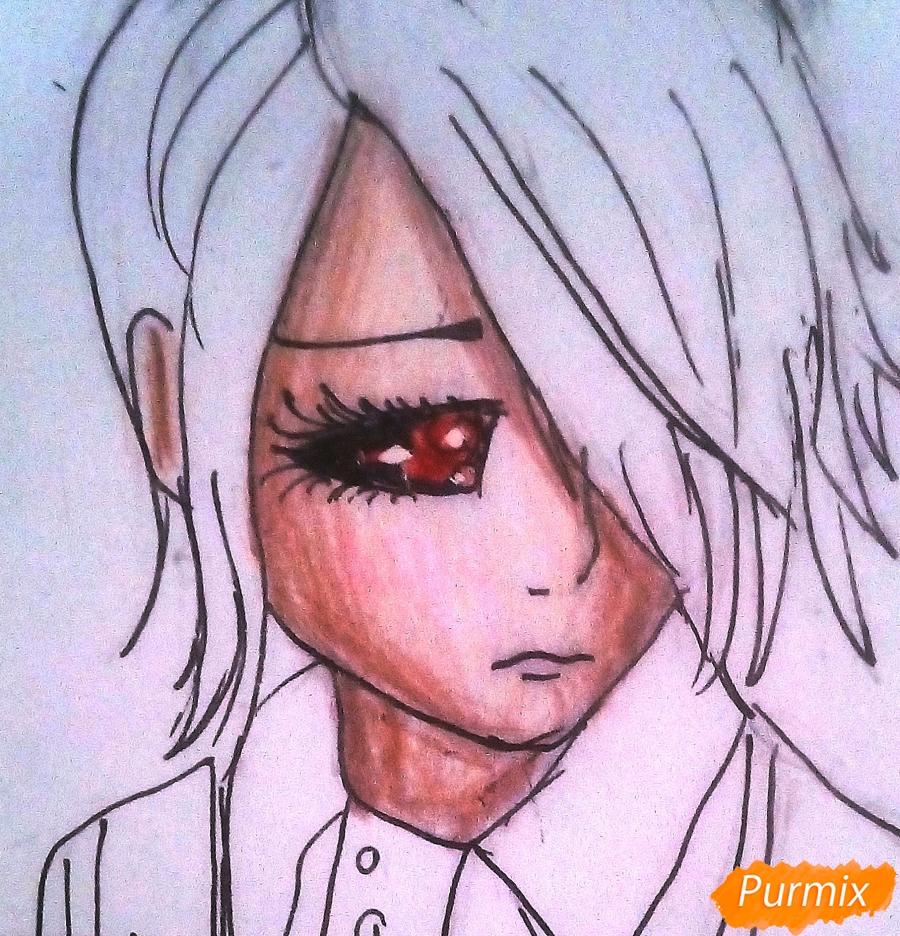 Рисуем Киришиму Тоуку из аниме Токийский Гуль - шаг 8