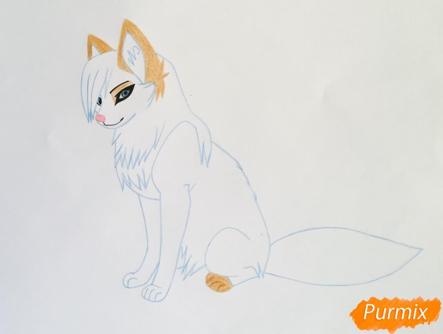 Рисуем коричнево голубую аниме кошку - шаг 6