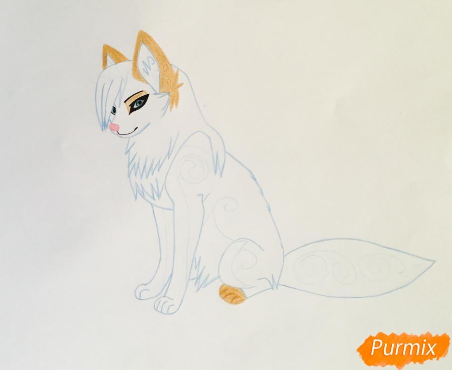 Рисуем коричнево голубую аниме кошку - шаг 7