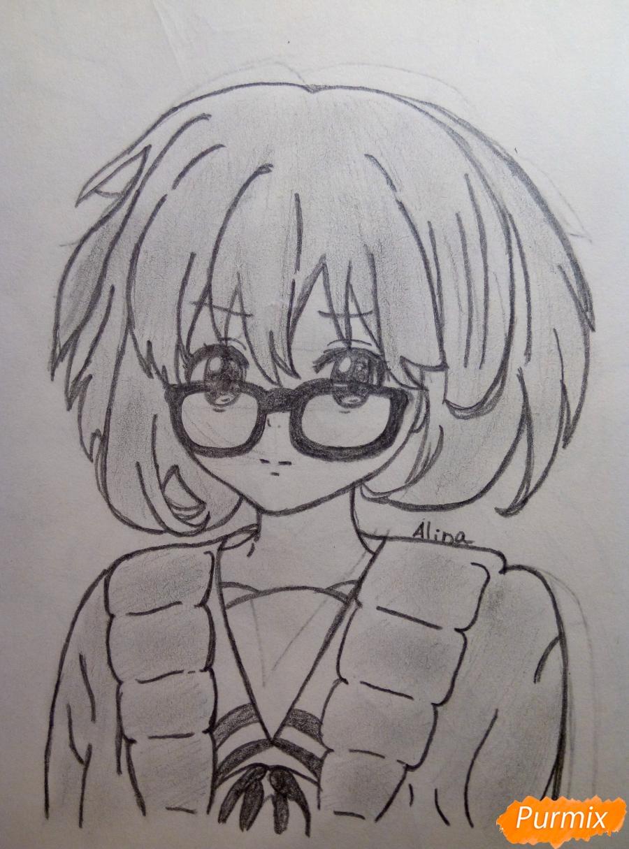 Рисуем Курияму Мирай из аниме за гранью - шаг 10