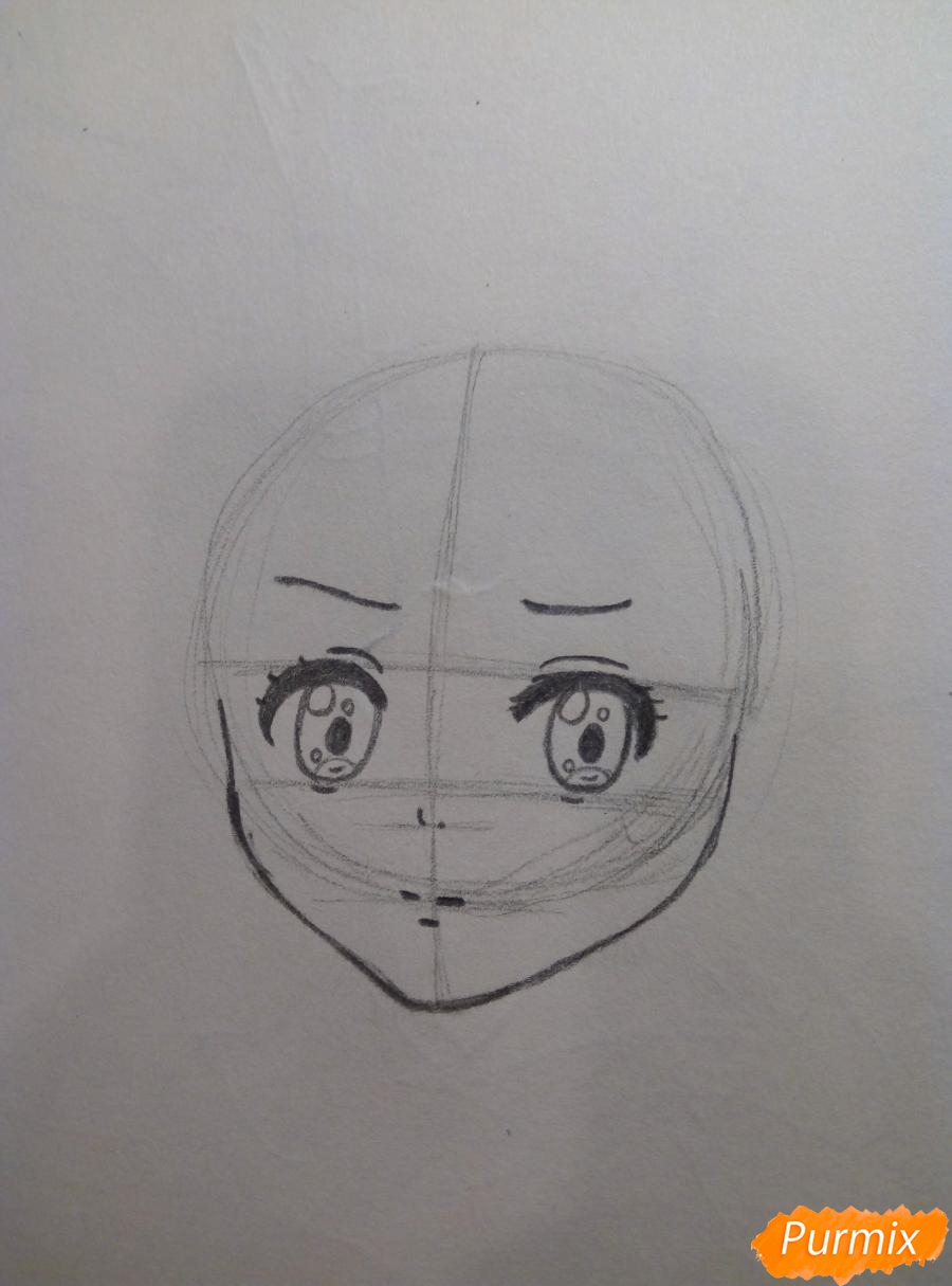 Рисуем Курияму Мирай из аниме за гранью - шаг 3