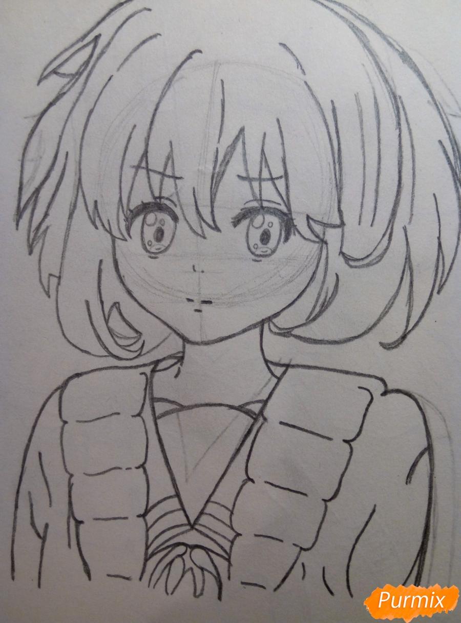 Рисуем Курияму Мирай из аниме за гранью - шаг 5