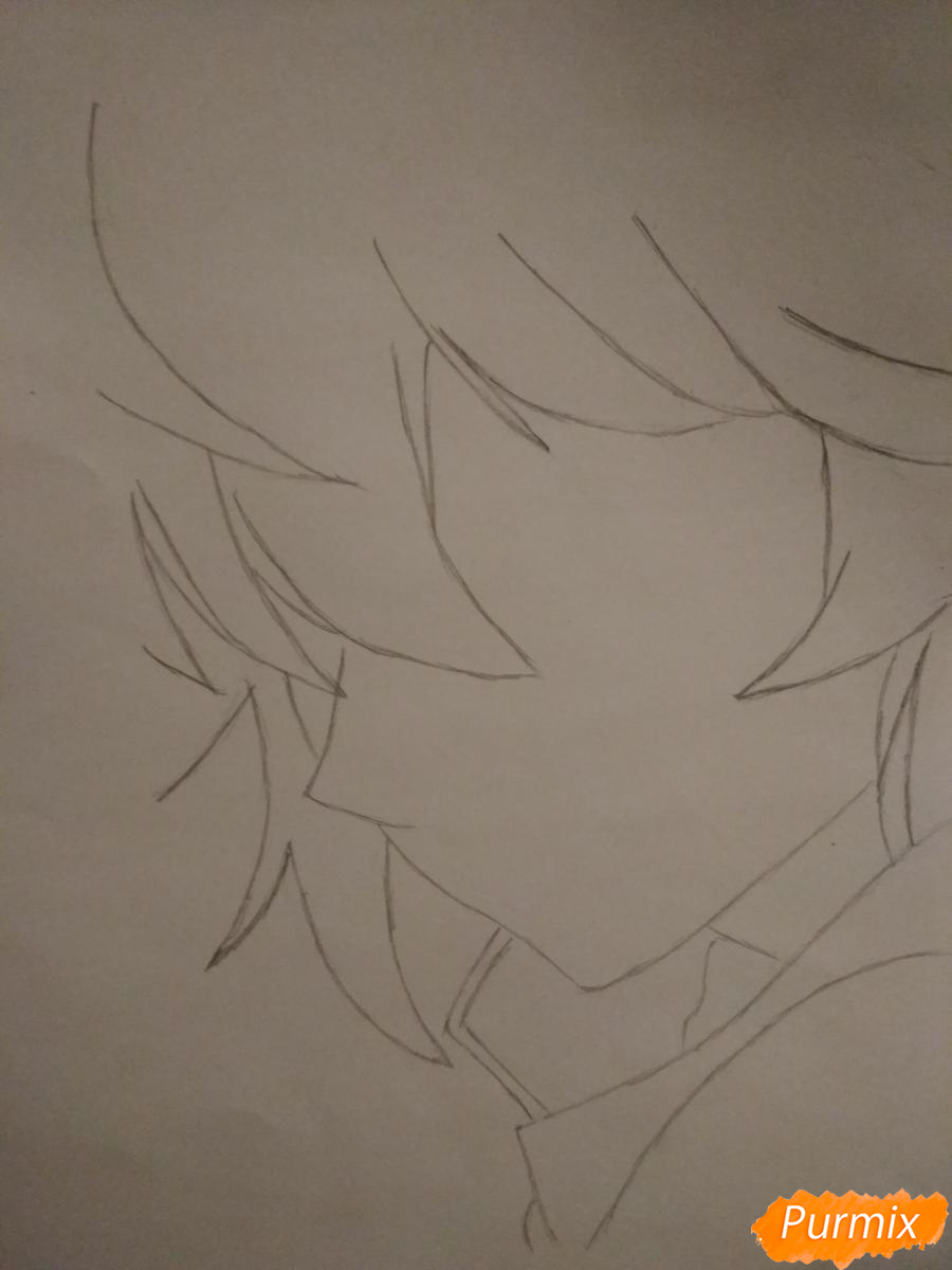 Рисуем Микаэлу Шиндо в профиль - шаг 2