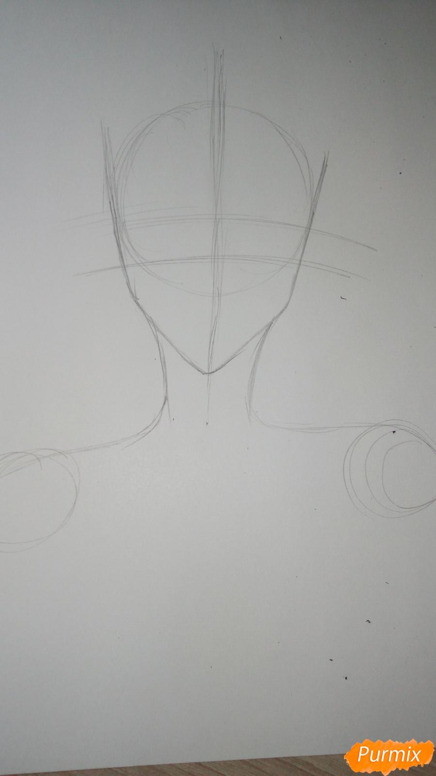 Учимся рисовать милого куна карандашами - шаг 2