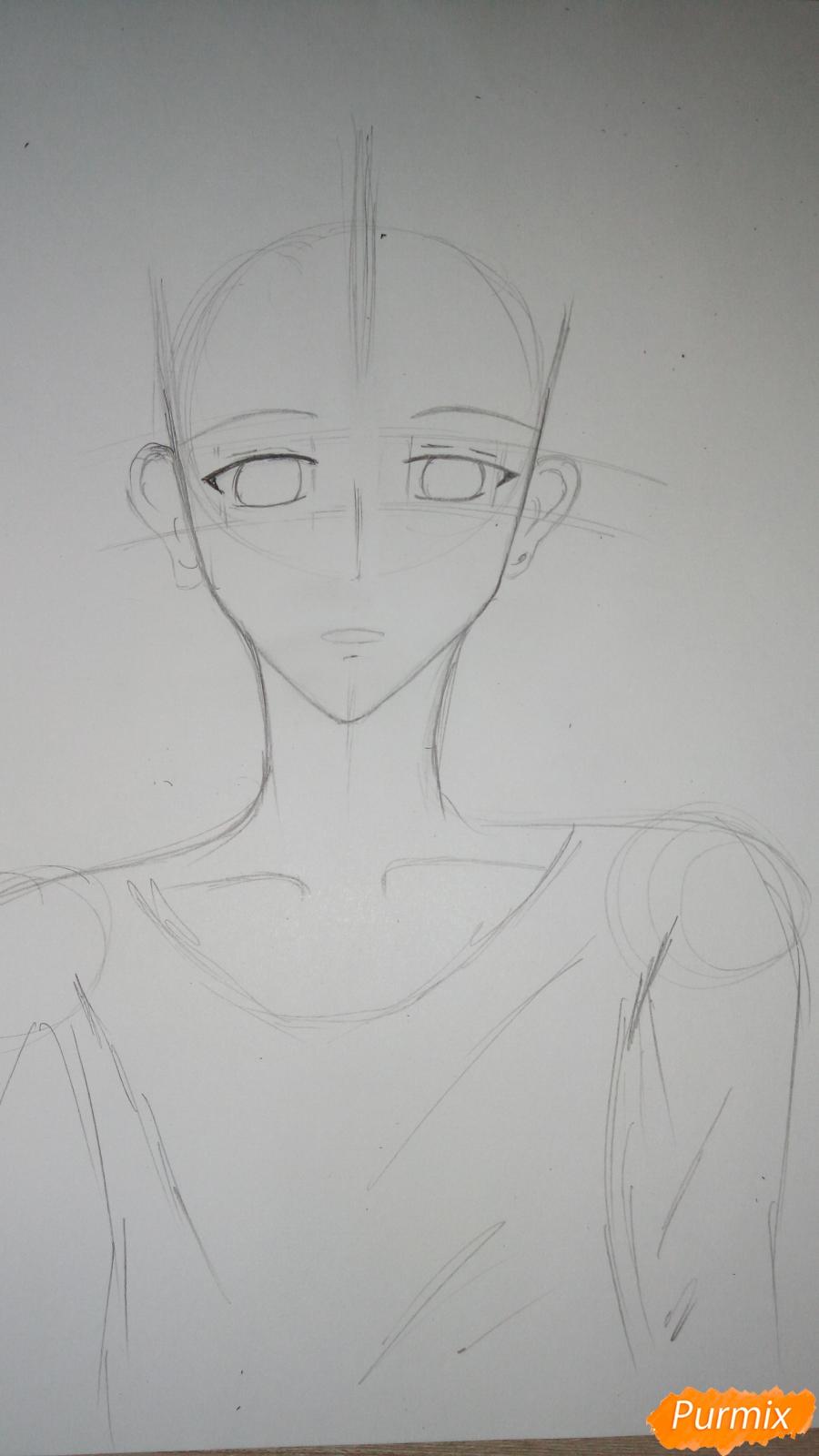 Учимся рисовать милого куна карандашами - шаг 4