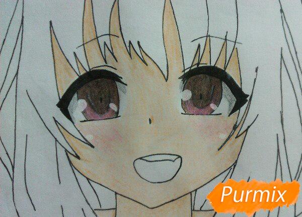 Рисуем милую аниме девочку в кофте цветными карандашами - шаг 11