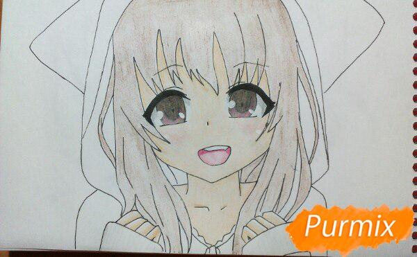 Рисуем милую аниме девочку в кофте цветными карандашами - шаг 12