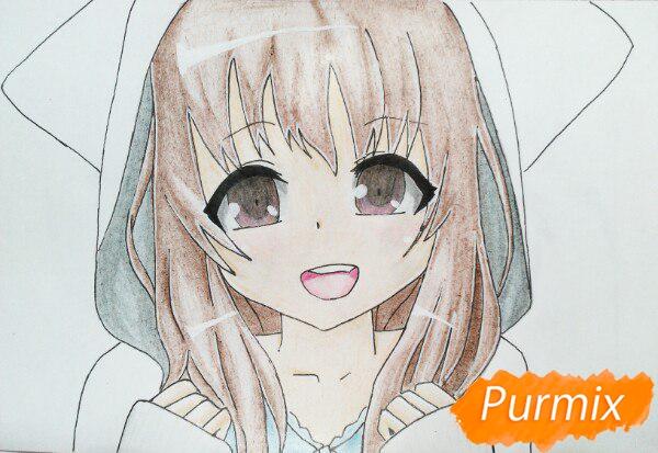 Рисуем милую аниме девочку в кофте цветными карандашами - шаг 14