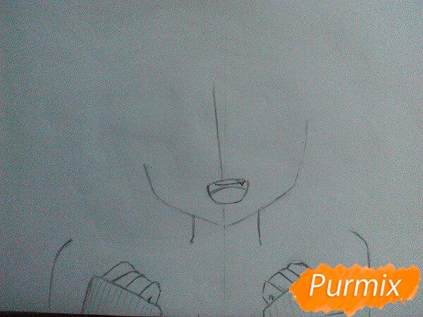Рисуем милую аниме девочку в кофте цветными карандашами - шаг 2