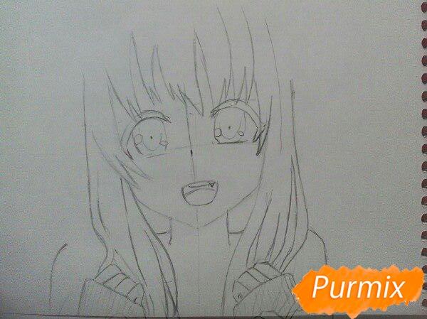 Рисуем милую аниме девочку в кофте цветными карандашами - шаг 5