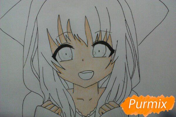 Рисуем милую аниме девочку в кофте цветными карандашами - шаг 9