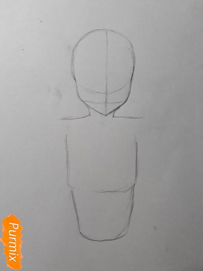 Рисуем Мирай в купальнике - шаг 2