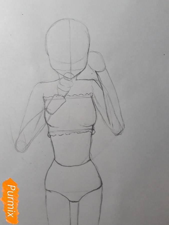 Рисуем Мирай в купальнике - шаг 4