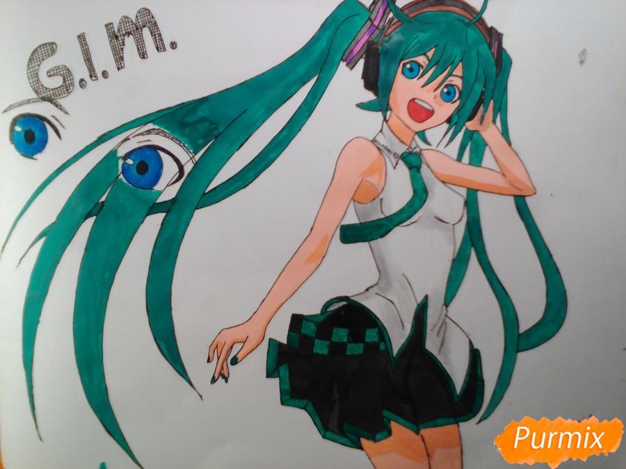 Рисуем   Мику Хацунэ цветными карандашами - шаг 10