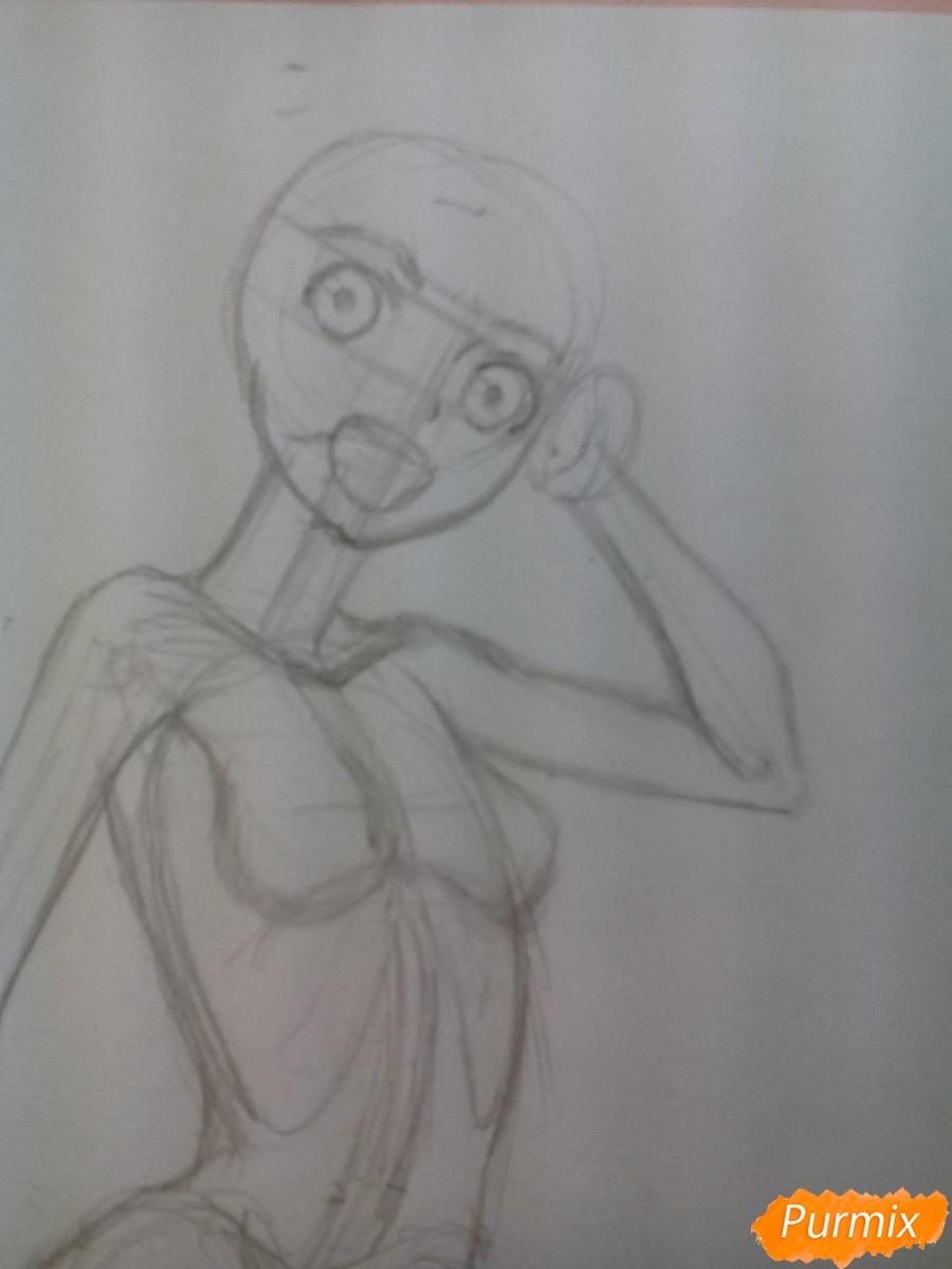Рисуем   Мику Хацунэ цветными карандашами - шаг 3
