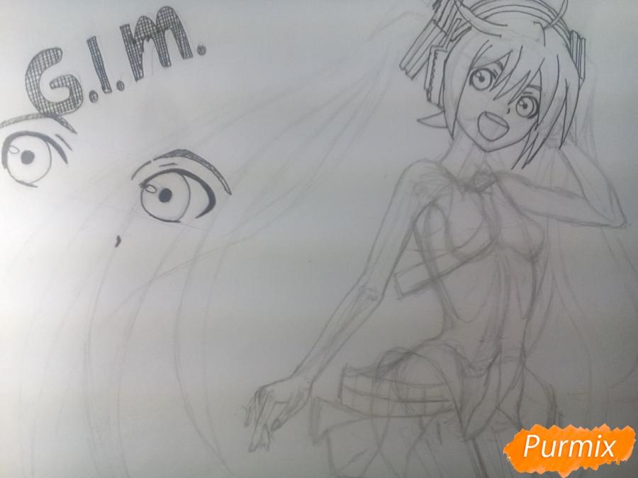 Рисуем   Мику Хацунэ цветными карандашами - шаг 6