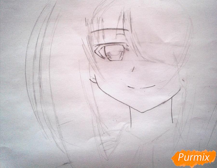Рисуем портрет Куруми Токисаки - шаг 2