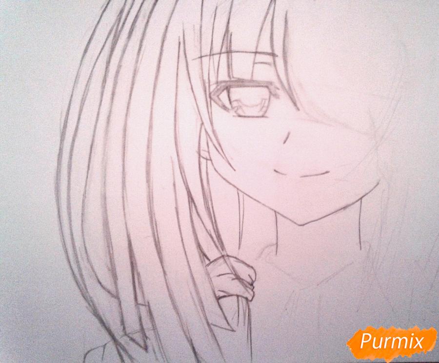 Рисуем портрет Куруми Токисаки - шаг 3
