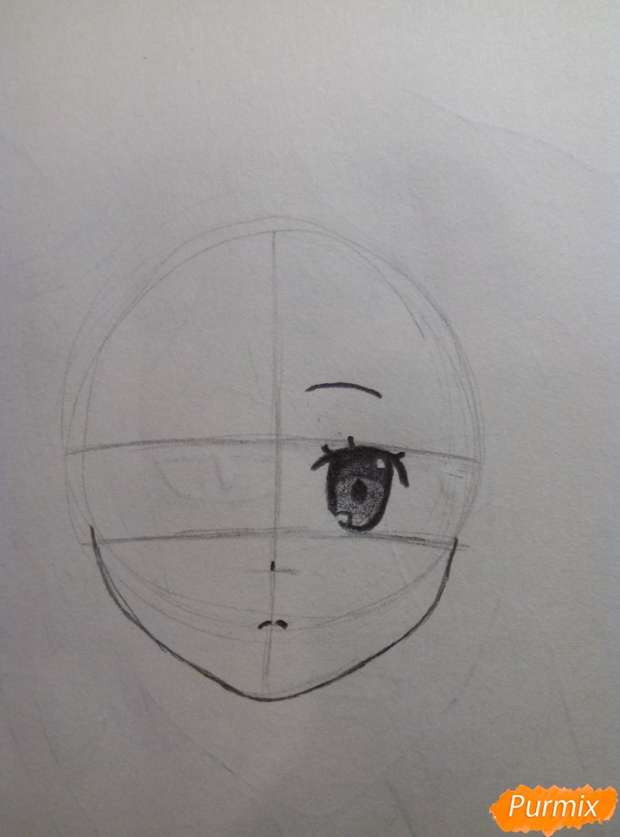 Рисуем портрет Рем простыми карандашами - шаг 3