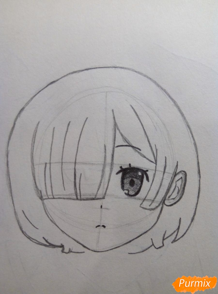 Рисуем портрет Рем простыми карандашами - шаг 4