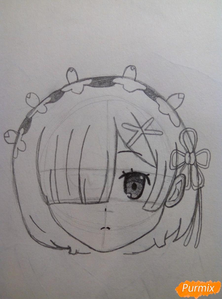 Рисуем портрет Рем простыми карандашами - шаг 5