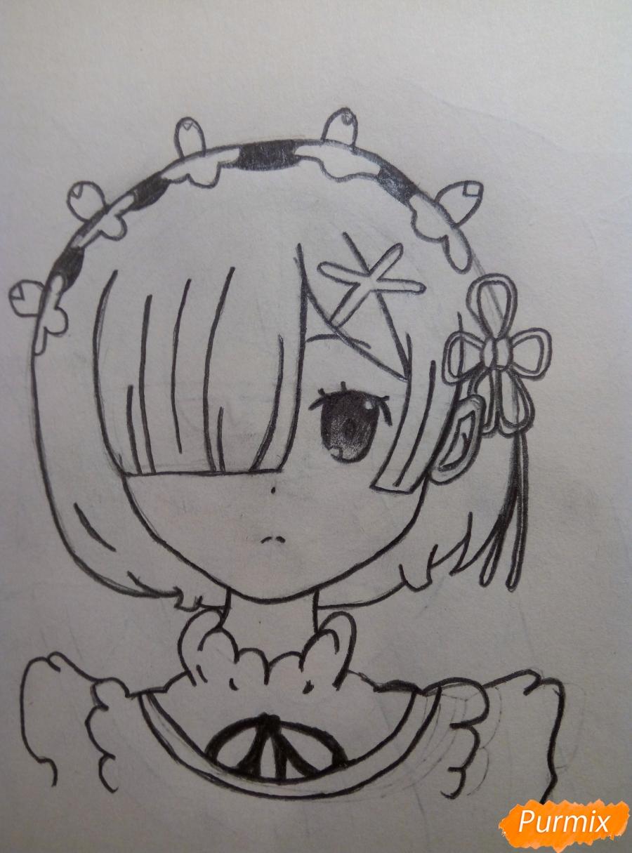 Рисуем портрет Рем простыми карандашами - шаг 8