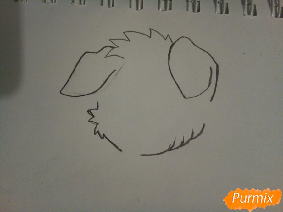 Рисуем рыжего щенка с веночком в стиле аниме - шаг 1
