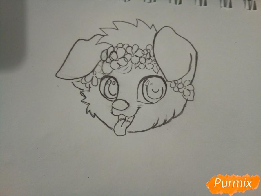 Рисуем рыжего щенка с веночком в стиле аниме - шаг 2