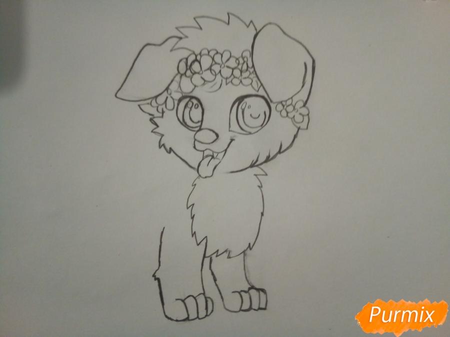 Рисуем рыжего щенка с веночком в стиле аниме - шаг 3