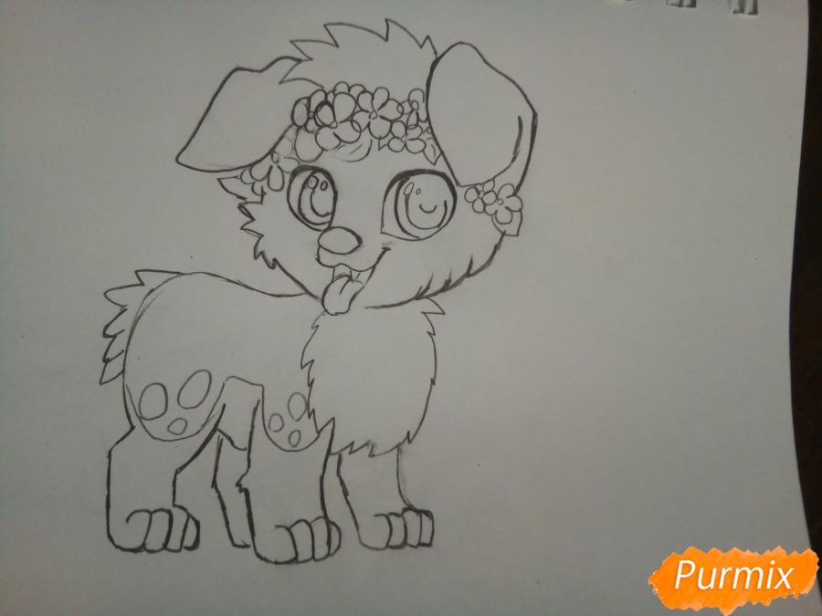 Рисуем рыжего щенка с веночком в стиле аниме - шаг 4