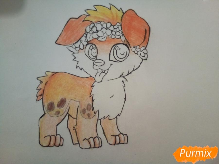 Рисуем рыжего щенка с веночком в стиле аниме - шаг 6