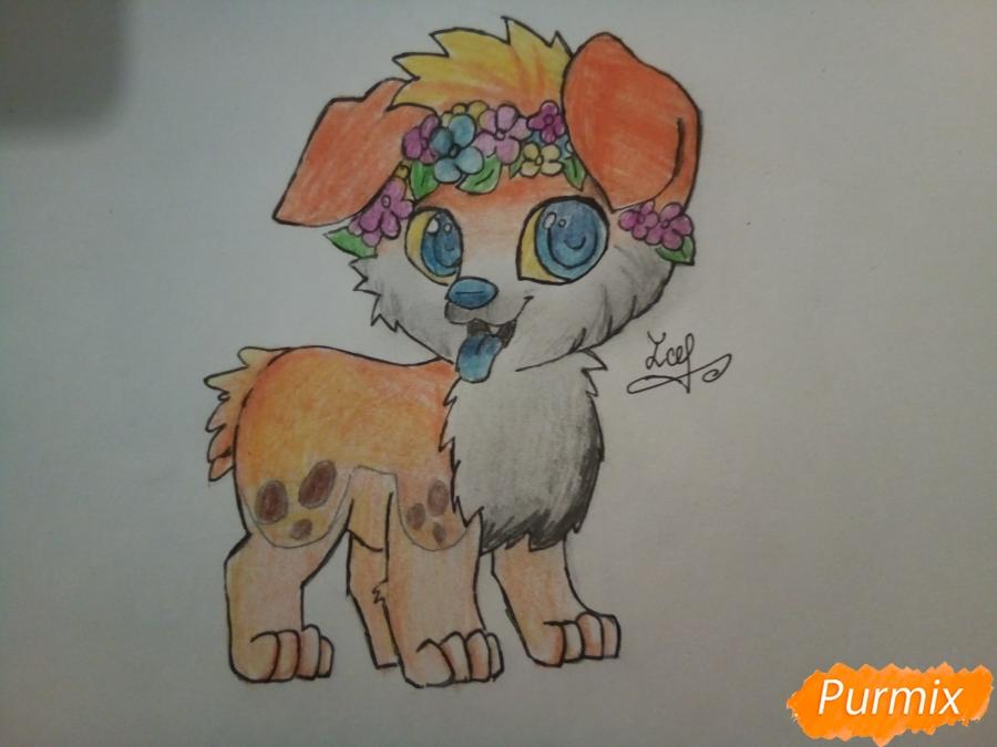 Рисуем рыжего щенка с веночком в стиле аниме - шаг 7