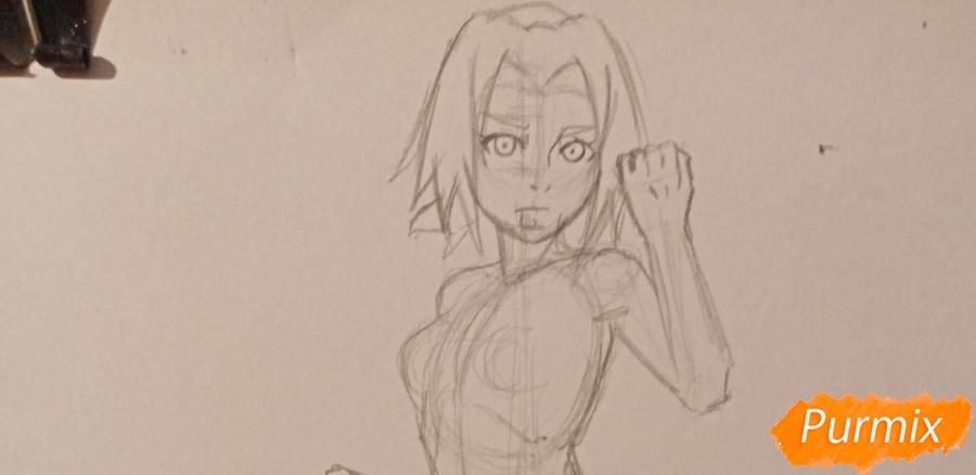 Рисуем Сакуру Харуно в полный рост - шаг 4