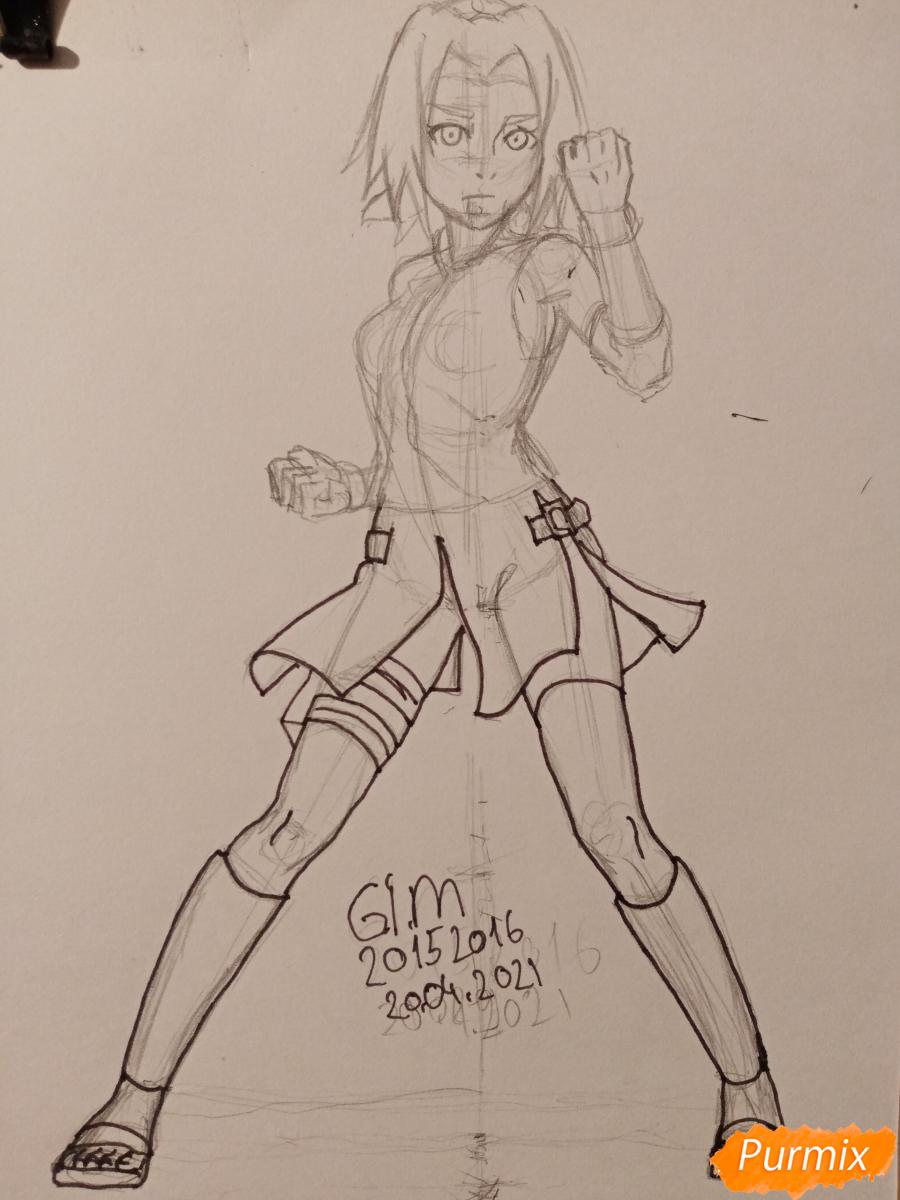 Рисуем Сакуру Харуно в полный рост - шаг 6