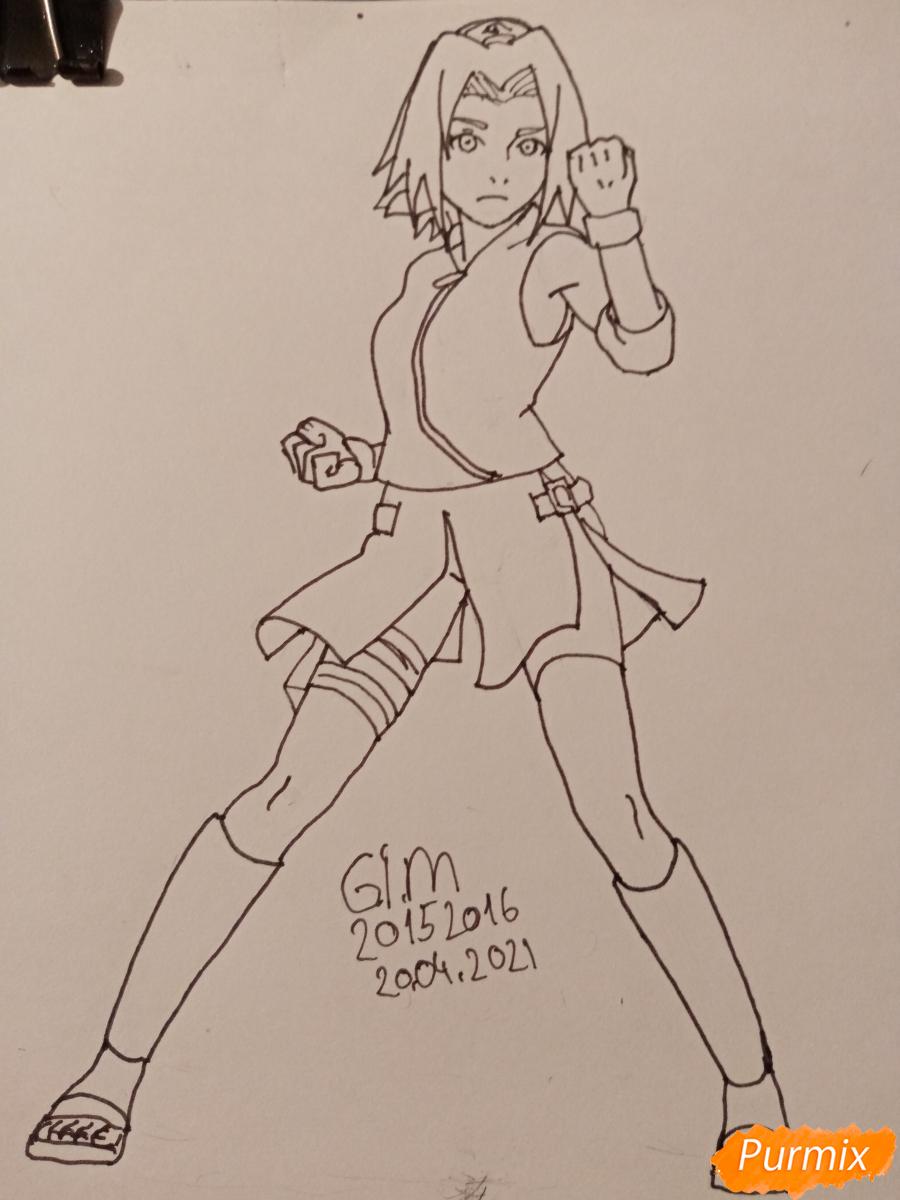 Рисуем Сакуру Харуно в полный рост - шаг 7