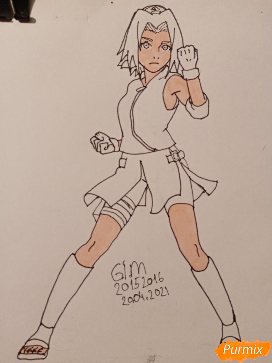 Рисуем Сакуру Харуно в полный рост - шаг 8