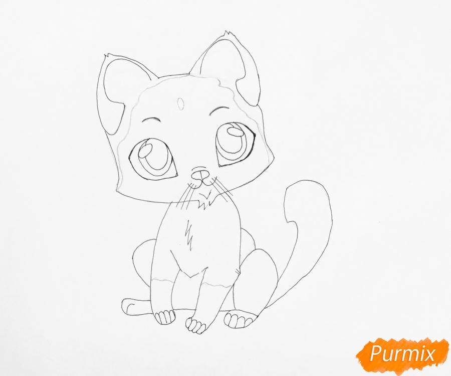 Рисуем сиамского котёнка в стиле аниме - шаг 6