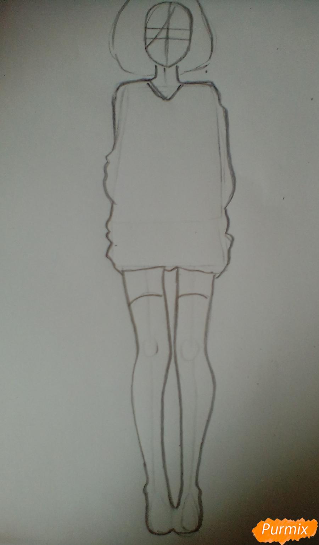 Рисуем Току Киришиму в полный рост - шаг 2