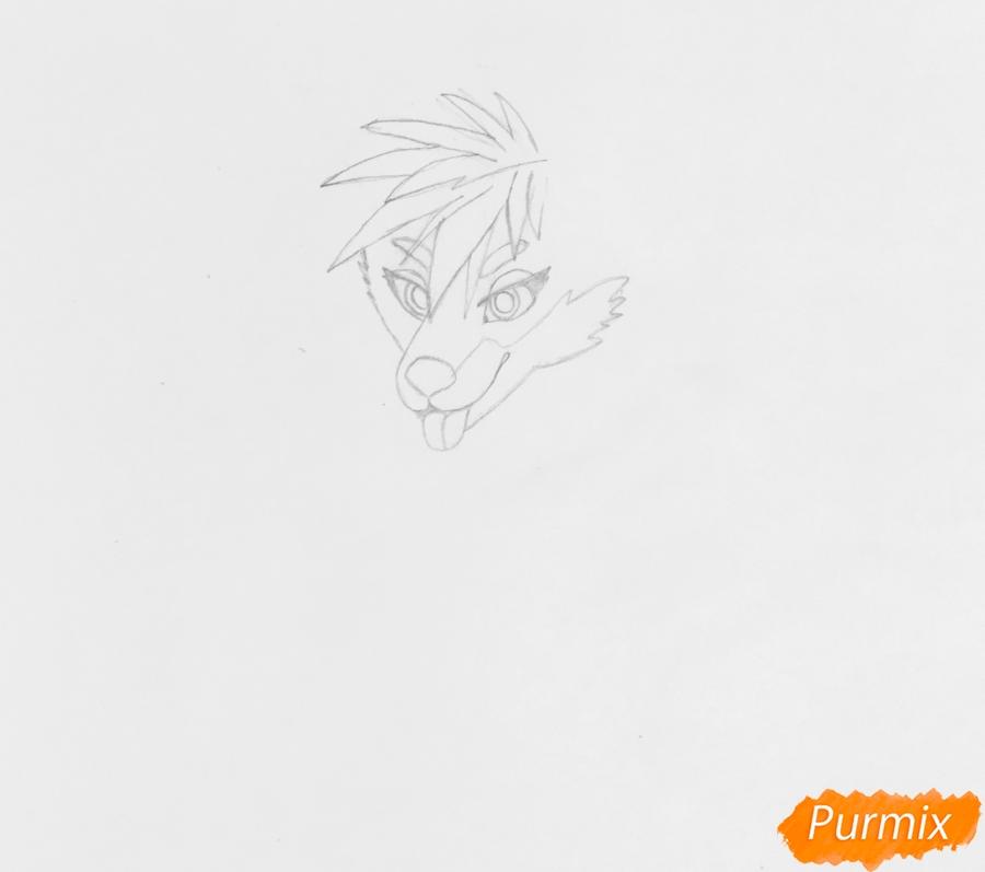 Рисуем трёхцветного аниме лиса с ошейником и с серёжками в ушах - шаг 2