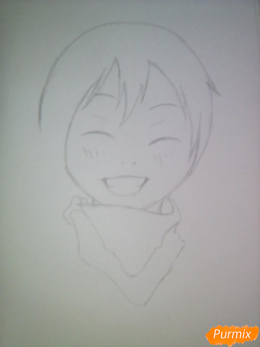 Рисуем улыбающегося Ято - шаг 4