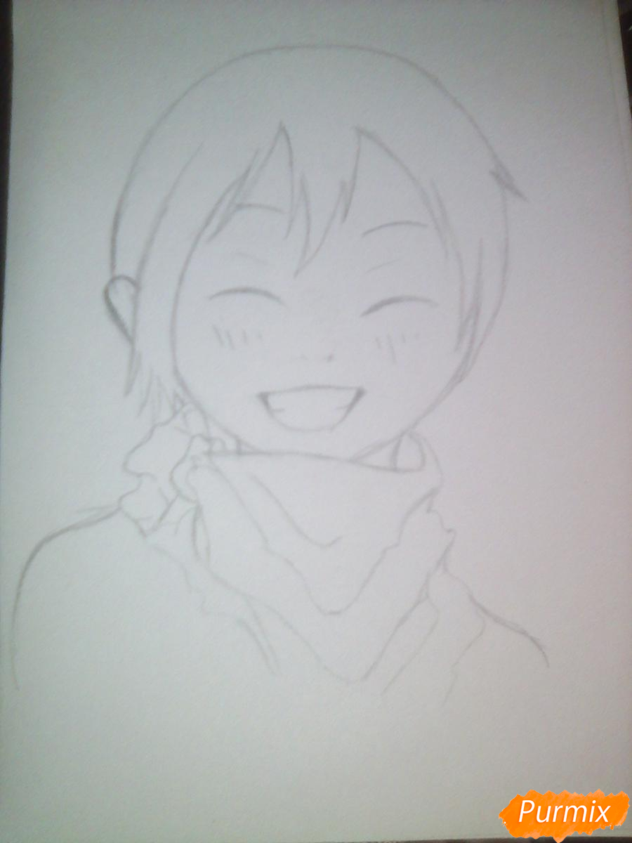 Рисуем улыбающегося Ято - шаг 7