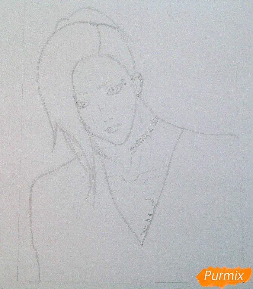 Рисуем Уту из аниме Токийский гуль - шаг 2