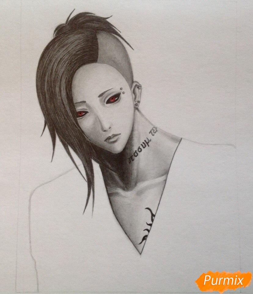 Рисуем Уту из аниме Токийский гуль - шаг 5