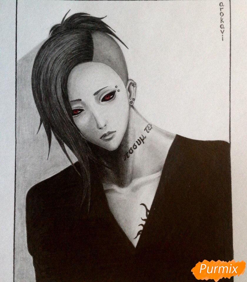 Рисуем Уту из аниме Токийский гуль - шаг 6